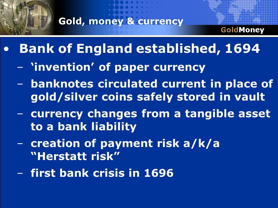 Bank of England established, 1694