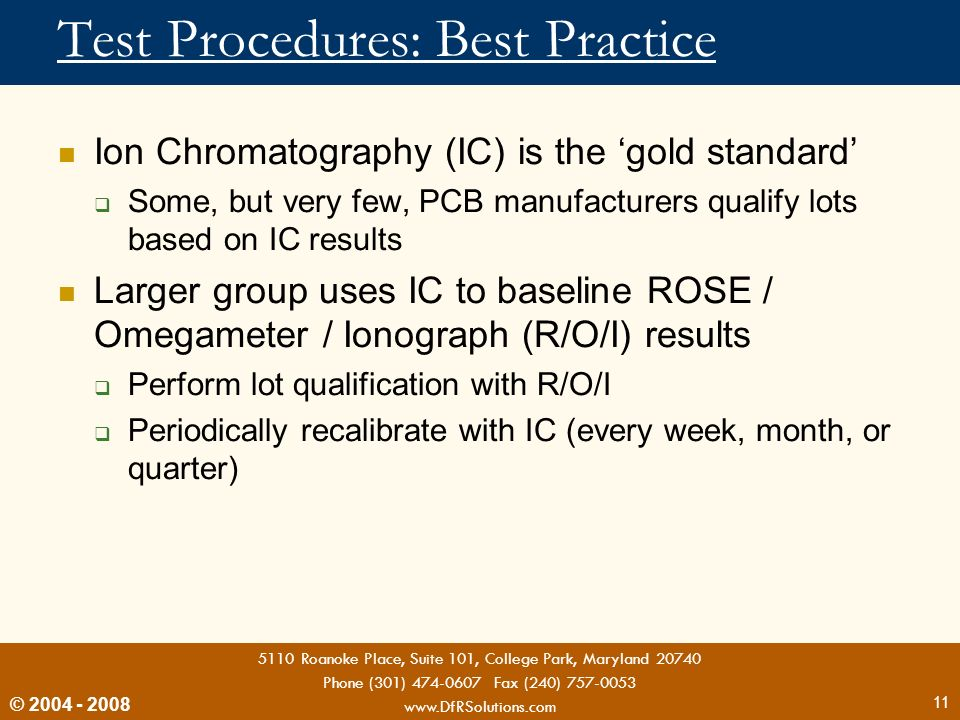 Test Procedures: Best Practice