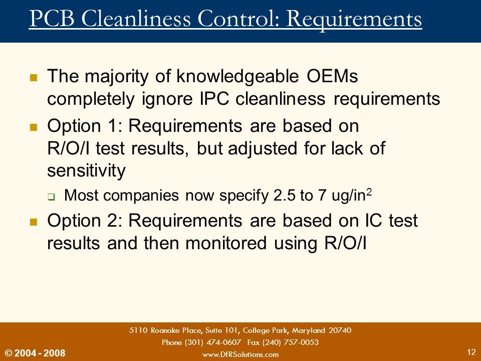 PCB Cleanliness Control: Requirements