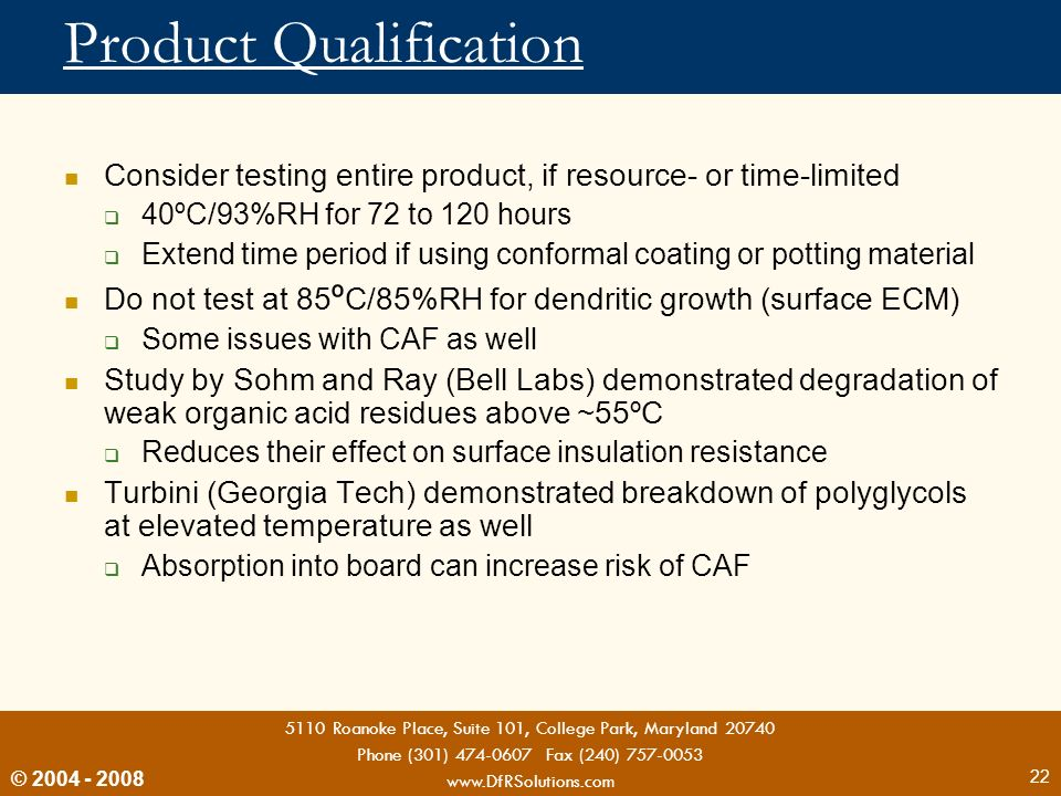 Product Qualification