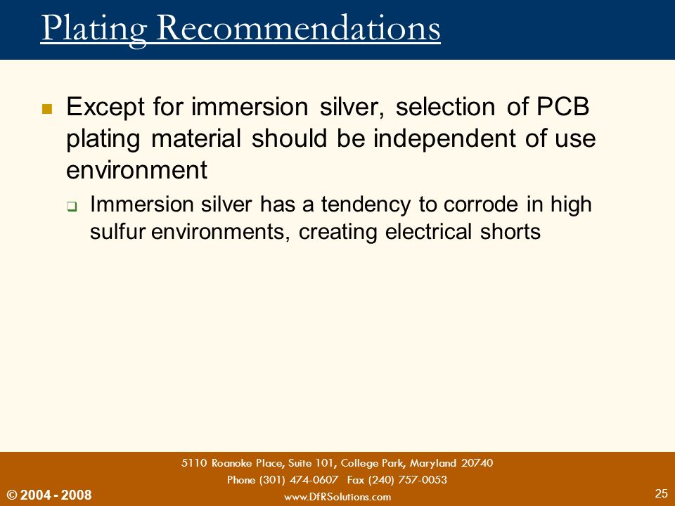 Plating Recommendations