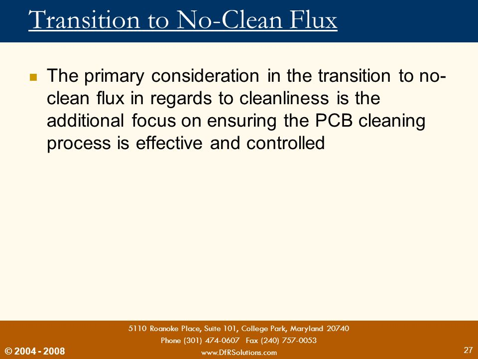 Transition to No-Clean Flux