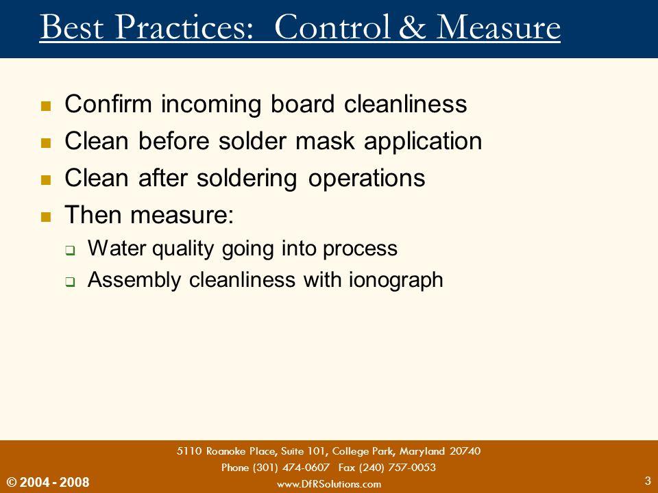 Best Practices: Control & Measure