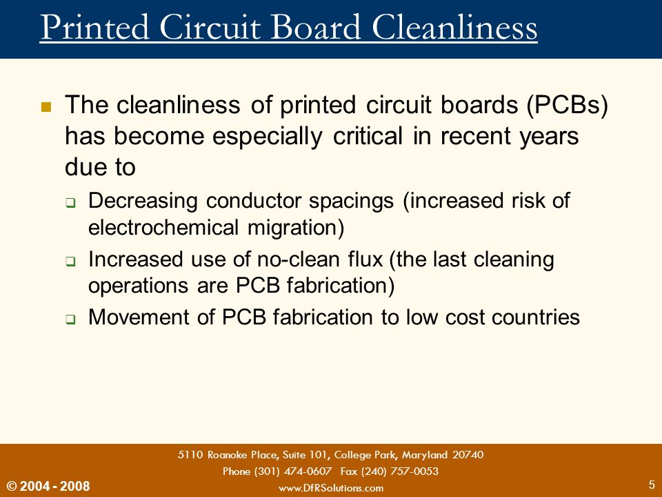 Printed Circuit Board Cleanliness