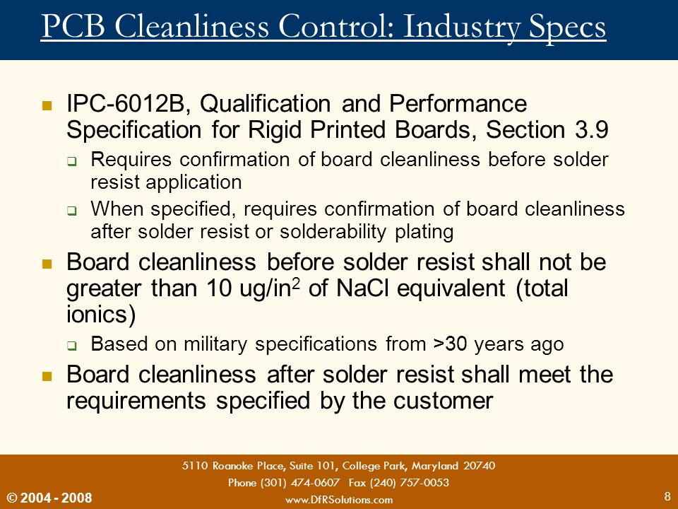 PCB Cleanliness Control: Industry Specs