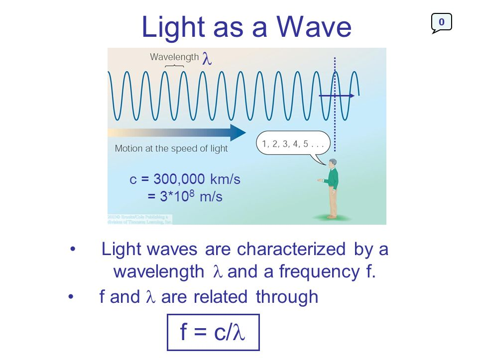 Light as a Wave c = 300,000 km/s = 3*108 m/s. Light waves are characterized by a wavelength and a frequency f.