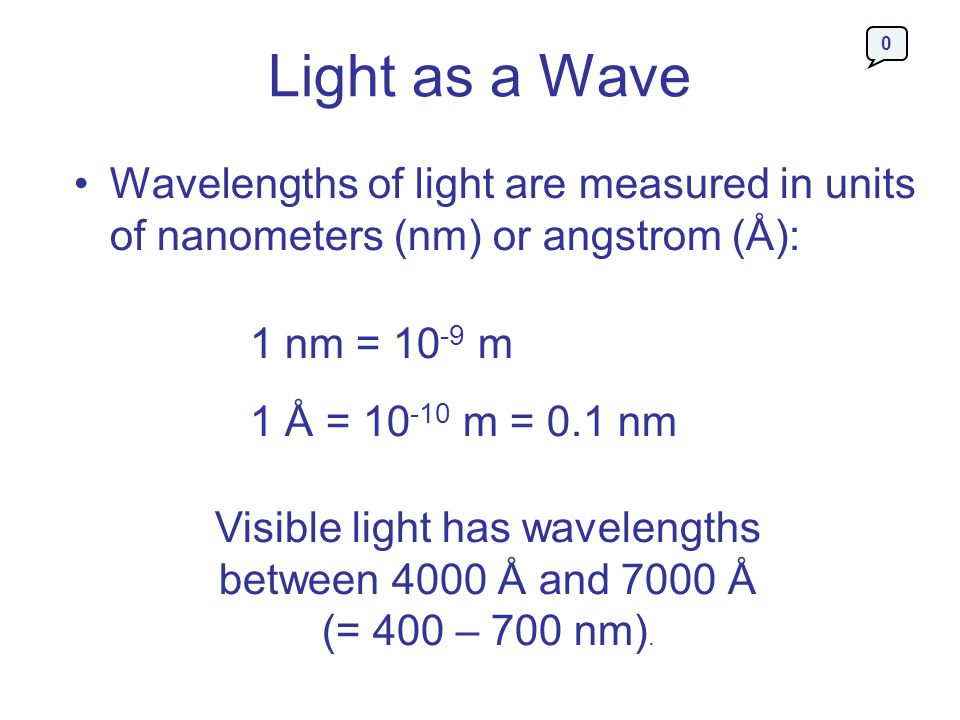 Light as a Wave Wavelengths of light are measured in units of nanometers (nm) or angstrom (Å): 1 nm = 10-9 m.