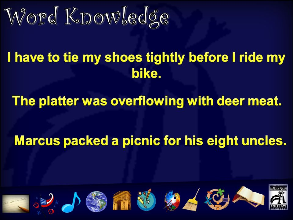 Word Knowledge I have to tie my shoes tightly before I ride my bike.
