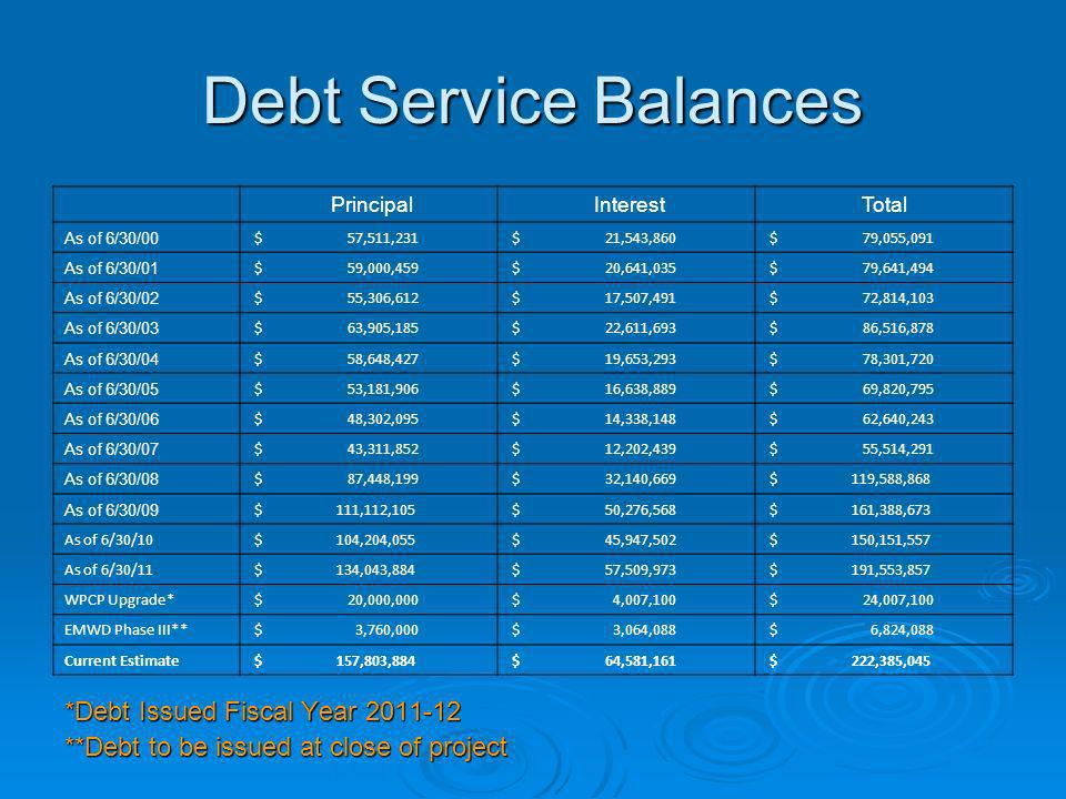 Debt Service Balances *Debt Issued Fiscal Year