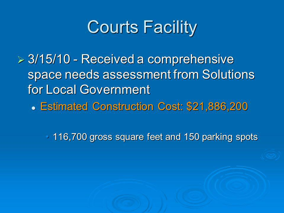 Courts Facility 3/15/10 - Received a comprehensive space needs assessment from Solutions for Local Government.
