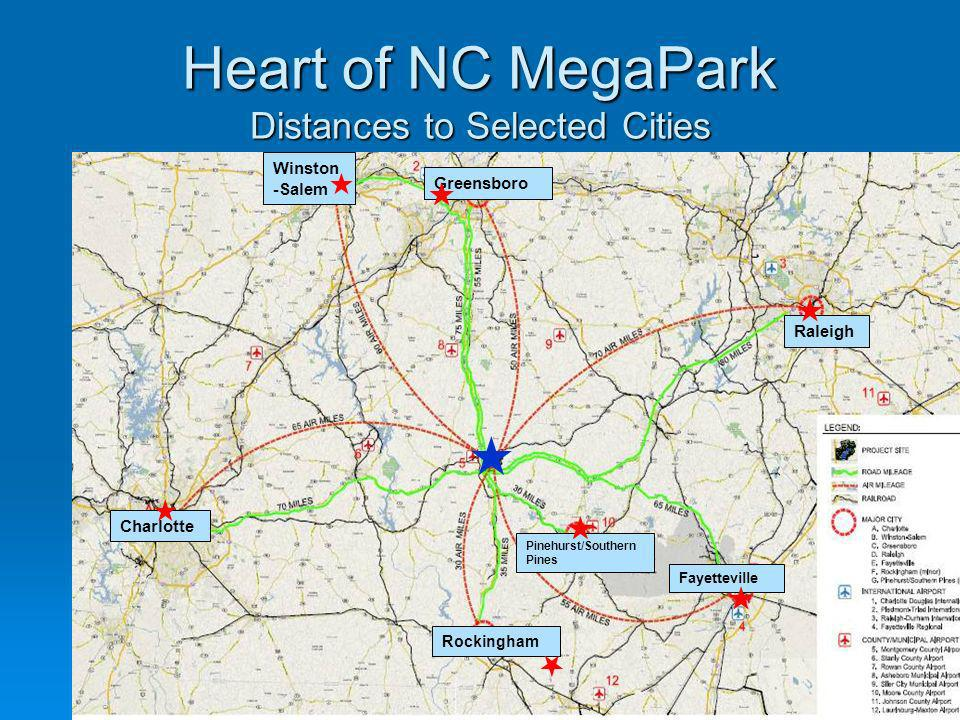 Heart of NC MegaPark Distances to Selected Cities
