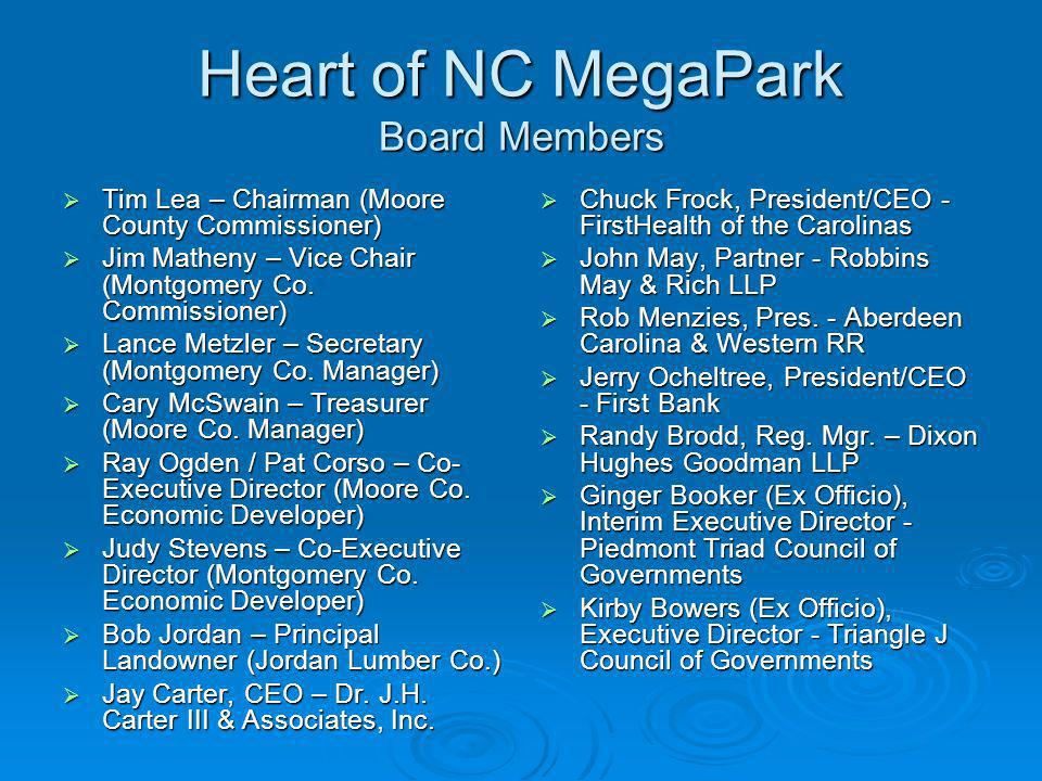 Heart of NC MegaPark Board Members