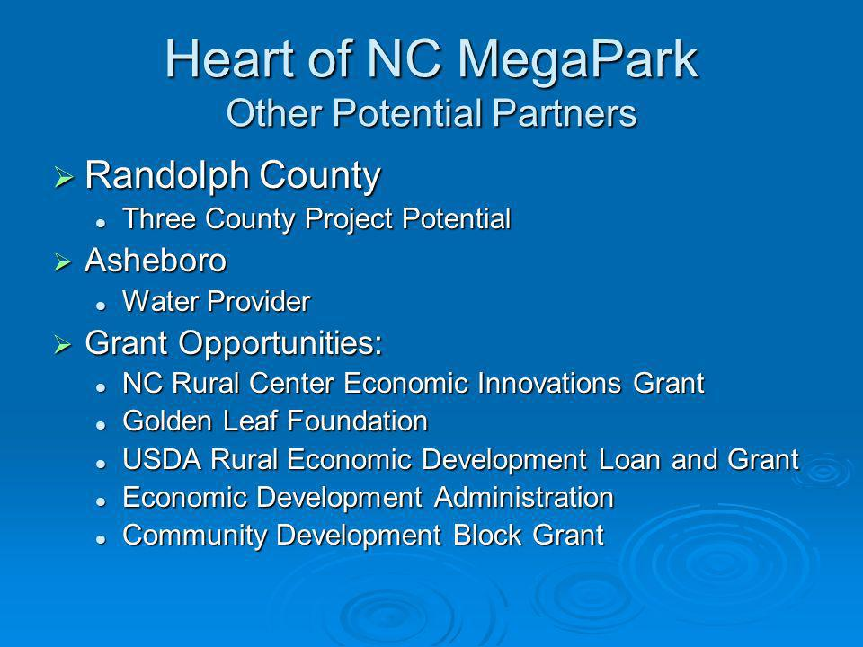 Heart of NC MegaPark Other Potential Partners