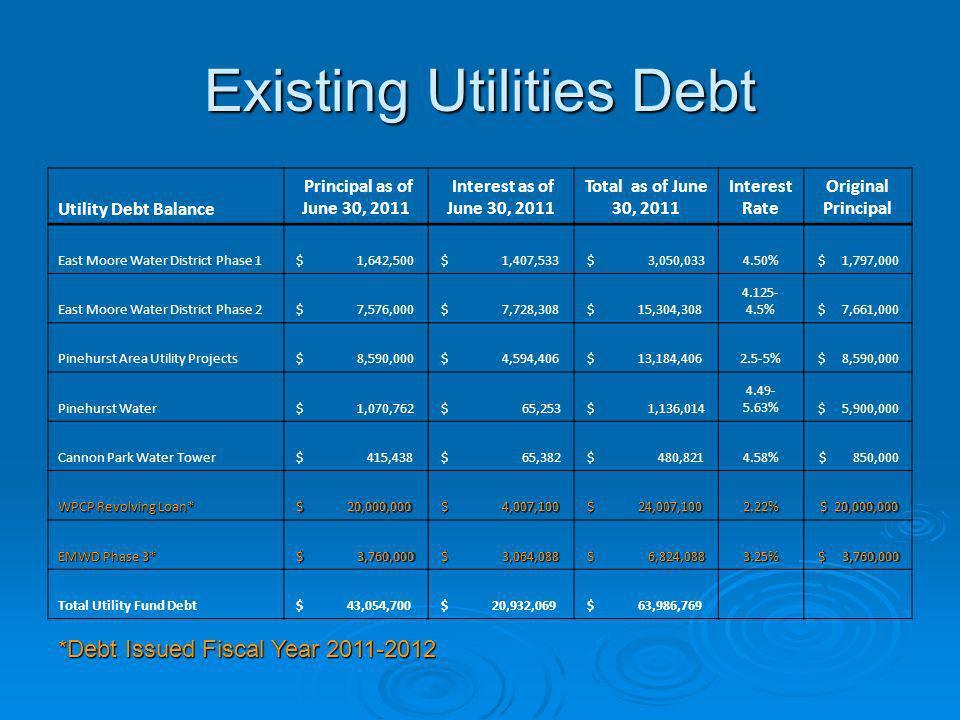 Existing Utilities Debt