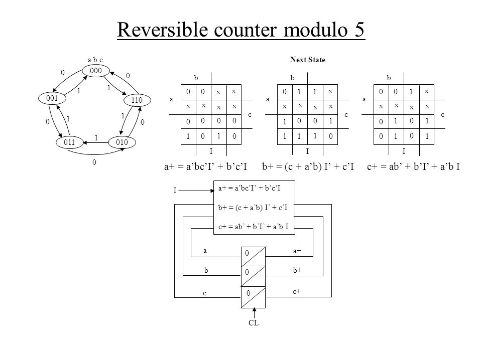 Reversible counter modulo 5