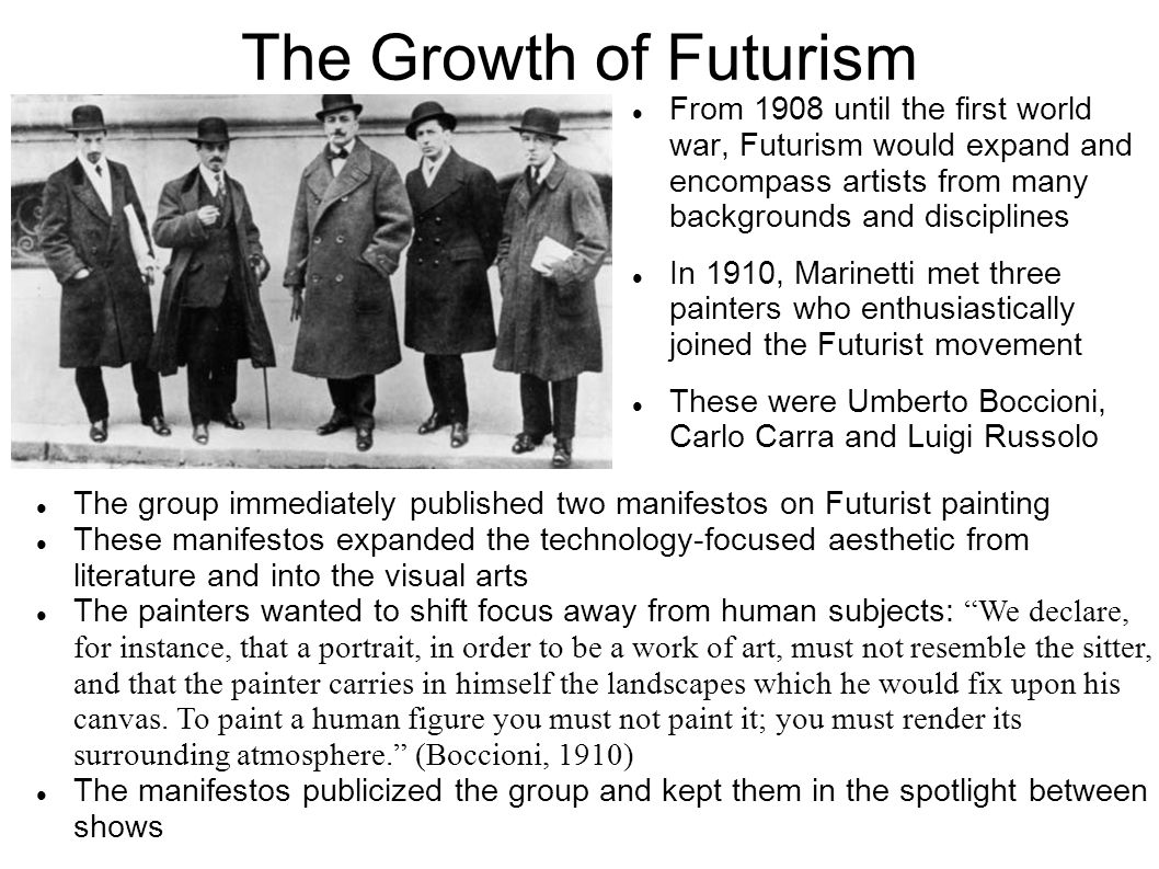 The Growth of Futurism From 1908 until the first world war, Futurism would expand and encompass artists from many backgrounds and disciplines.