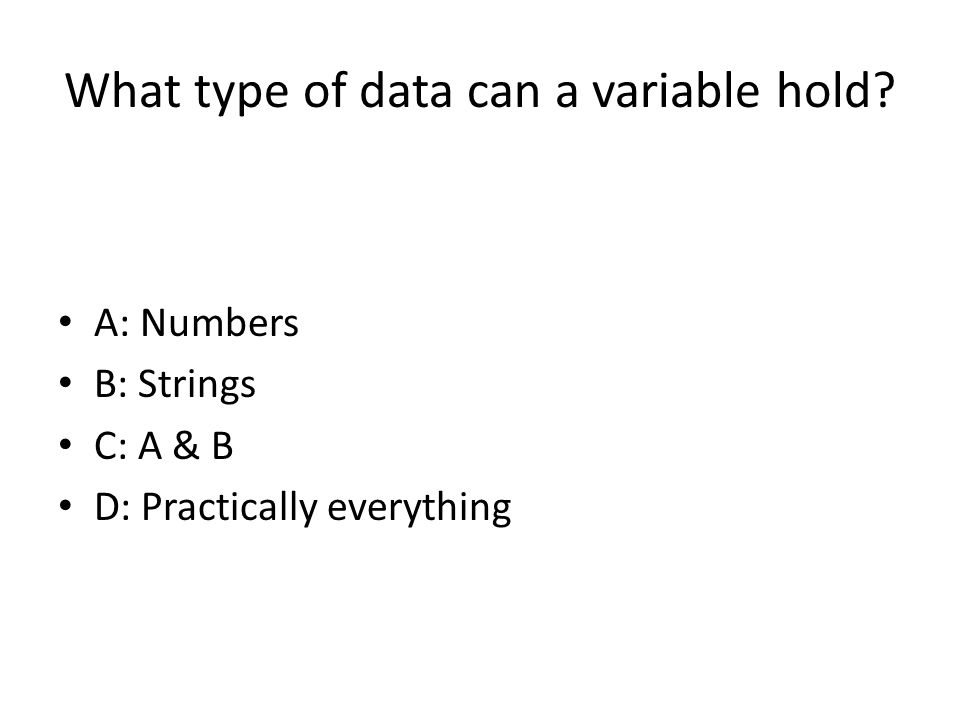 What type of data can a variable hold