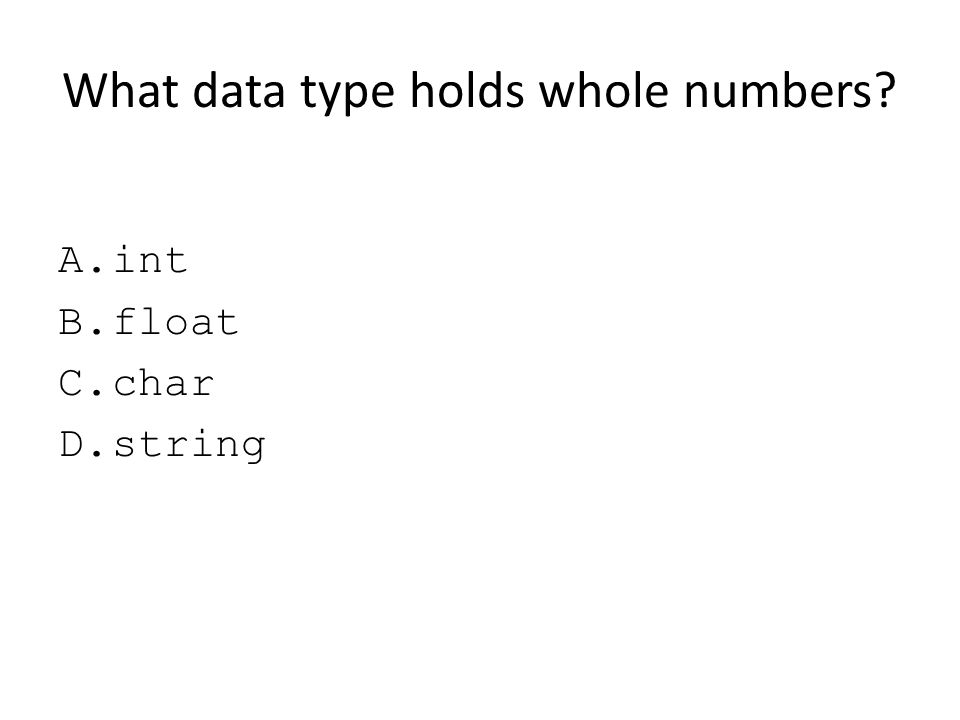 What data type holds whole numbers