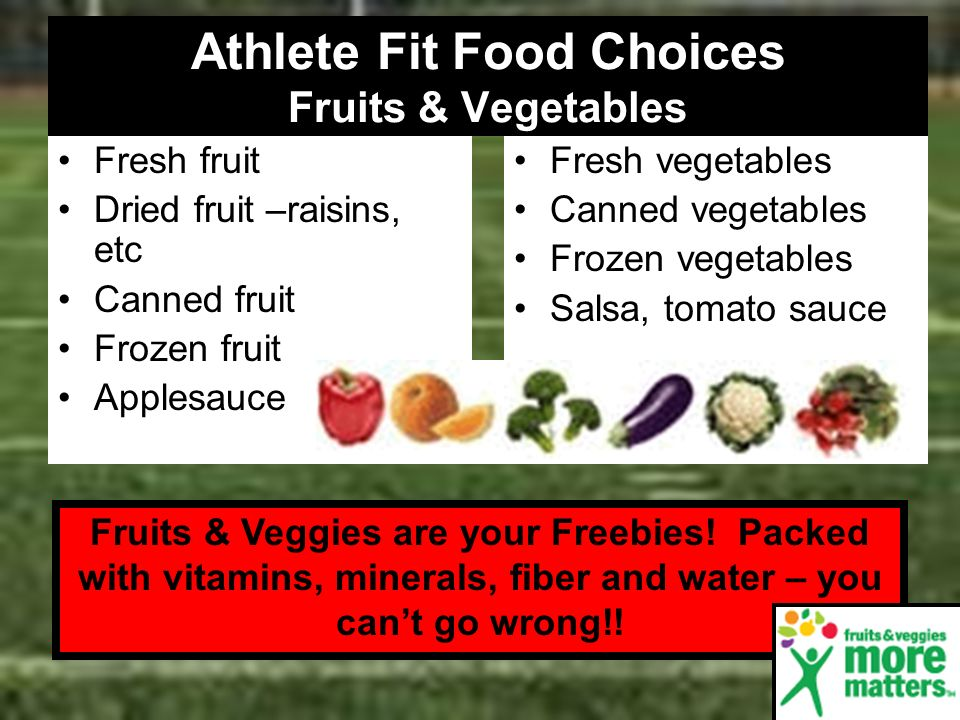 Athlete Fit Food Choices Fruits & Vegetables