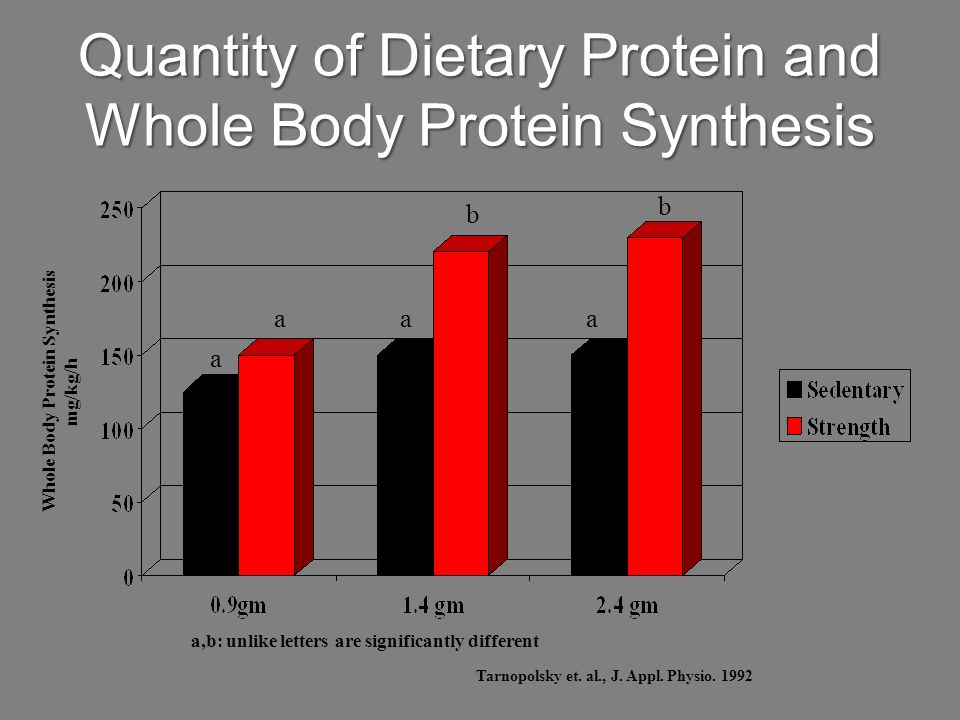 Quantity of Dietary Protein and Whole Body Protein Synthesis
