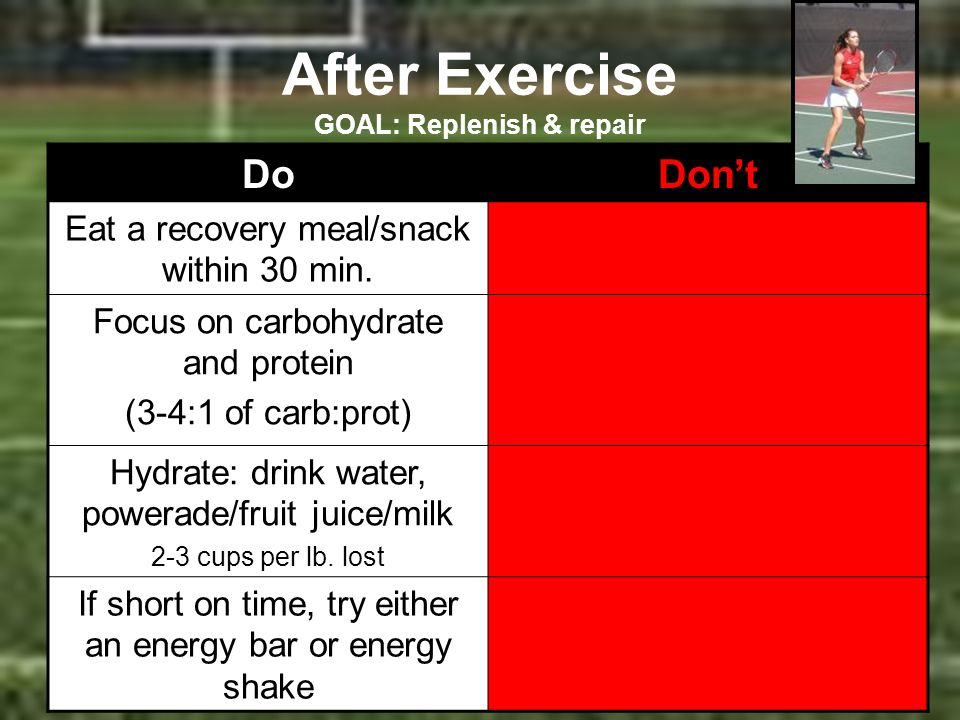 After Exercise GOAL: Replenish & repair