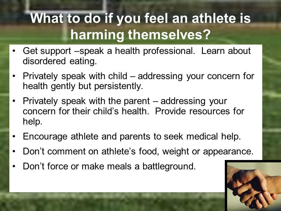 What to do if you feel an athlete is harming themselves