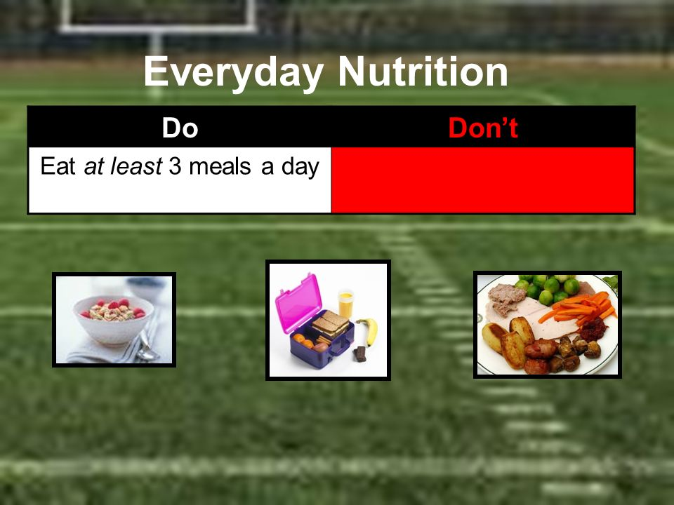 Everyday Nutrition Do Don't Eat at least 3 meals a day