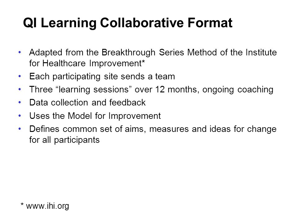 QI Learning Collaborative Format