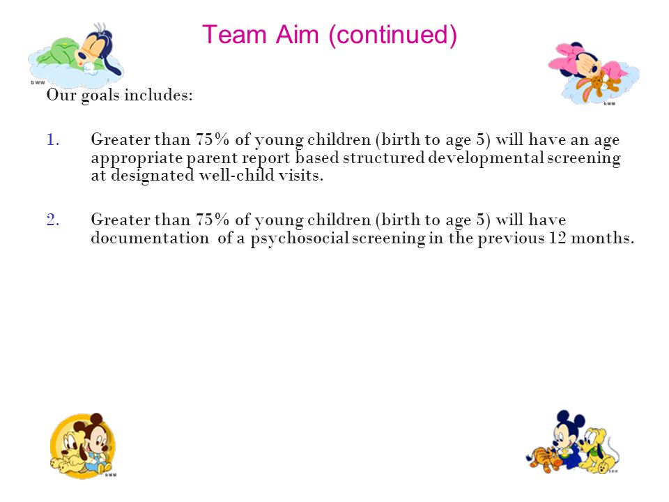 Team Aim (continued) Our goals includes:
