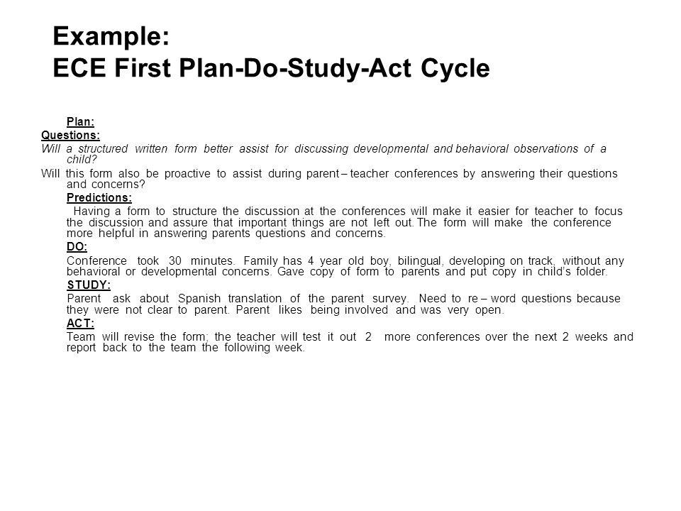 Example: ECE First Plan-Do-Study-Act Cycle