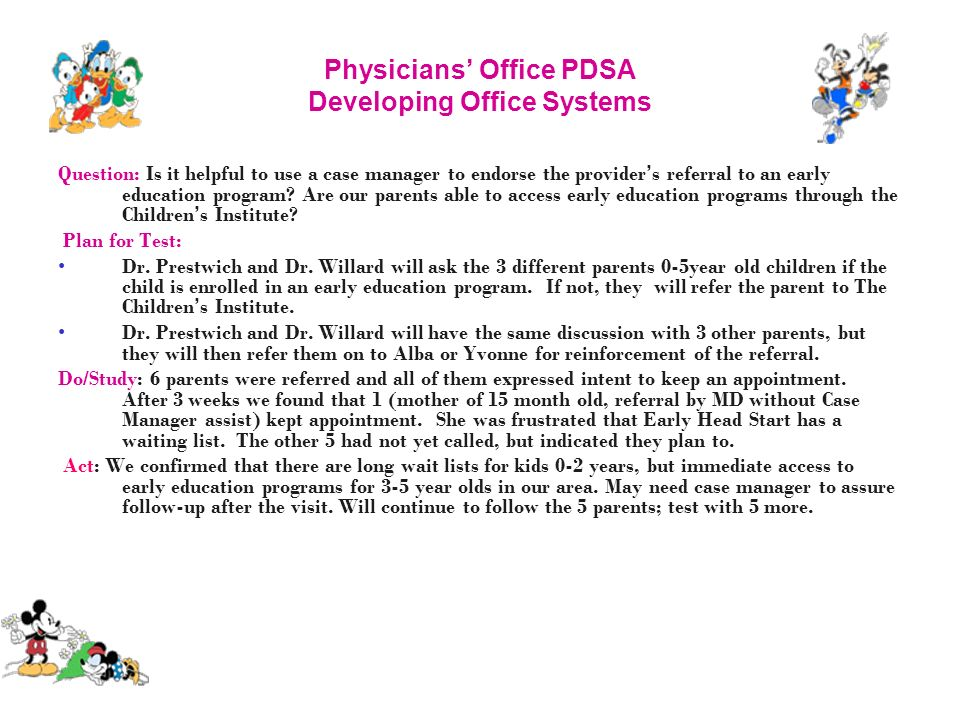 Physicians' Office PDSA Developing Office Systems