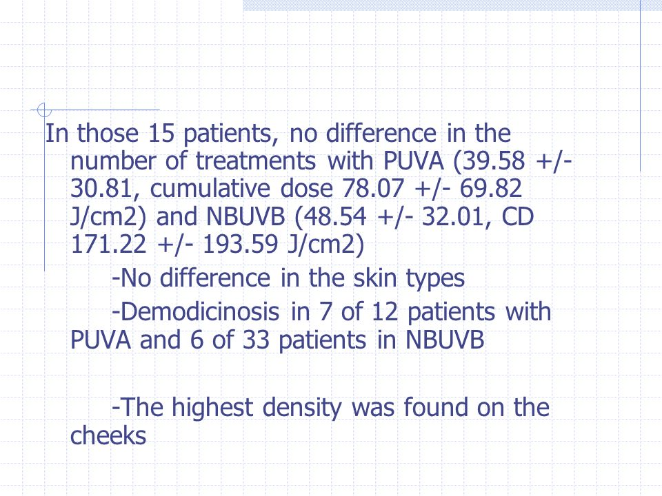 In those 15 patients, no difference in the number of treatments with PUVA (39.58 +/- 30.81, cumulative dose 78.07 +/- 69.82 J/cm2) and NBUVB (48.54 +/- 32.01, CD 171.22 +/- 193.59 J/cm2)
