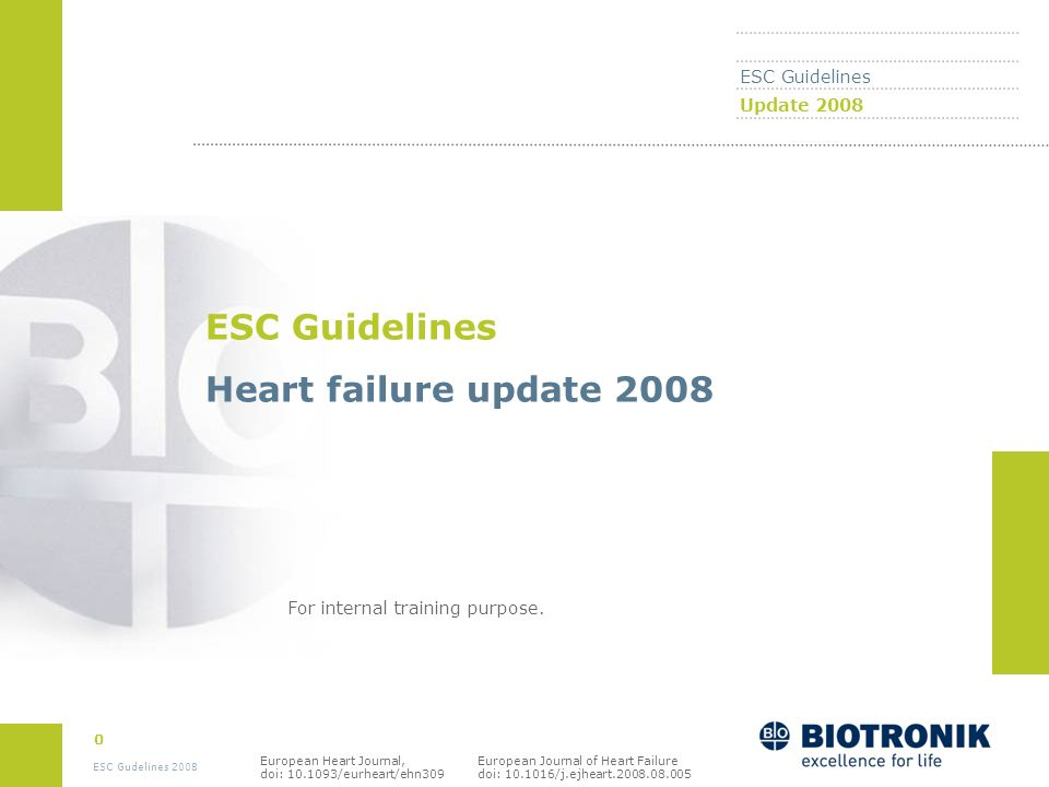ESC Guidelines Heart failure update 2008 ESC Guidelines Update 2008