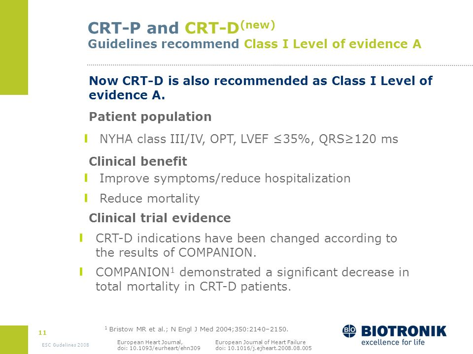 CRT-P and CRT-D(new) Guidelines recommend Class I Level of evidence A