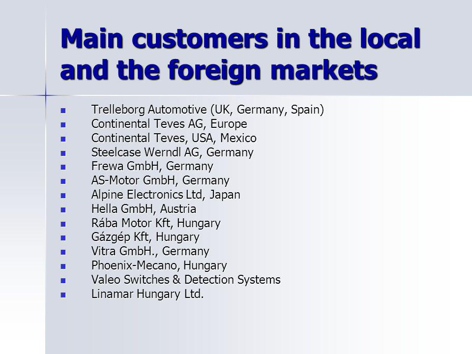 Main customers in the local and the foreign markets