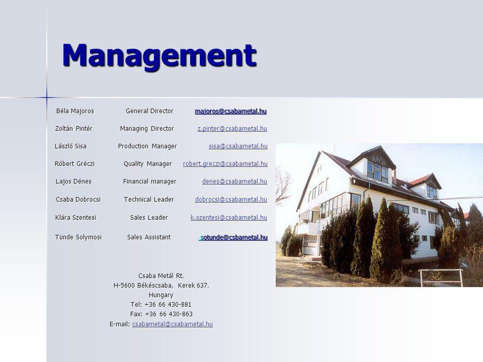 Management Béla Majoros General Director majoros@csabametal.hu