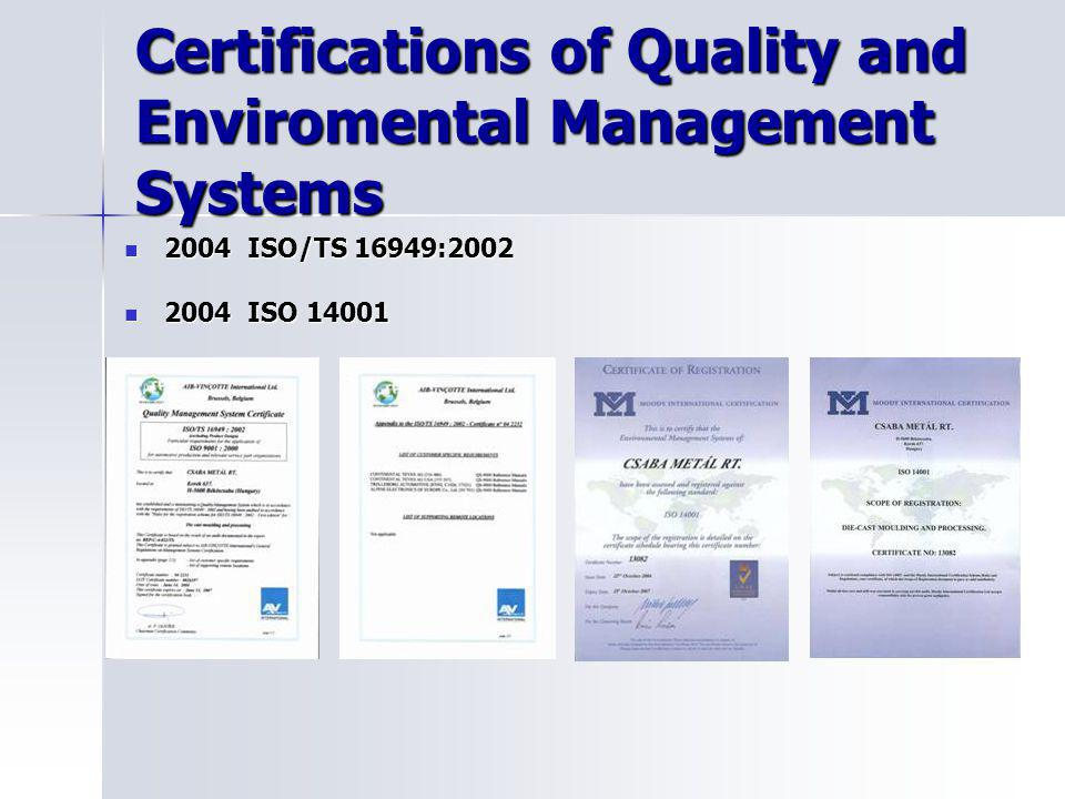 Certifications of Quality and Enviromental Management Systems