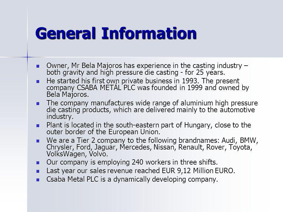 General Information Owner, Mr Bela Majoros has experience in the casting industry – both gravity and high pressure die casting - for 25 years.