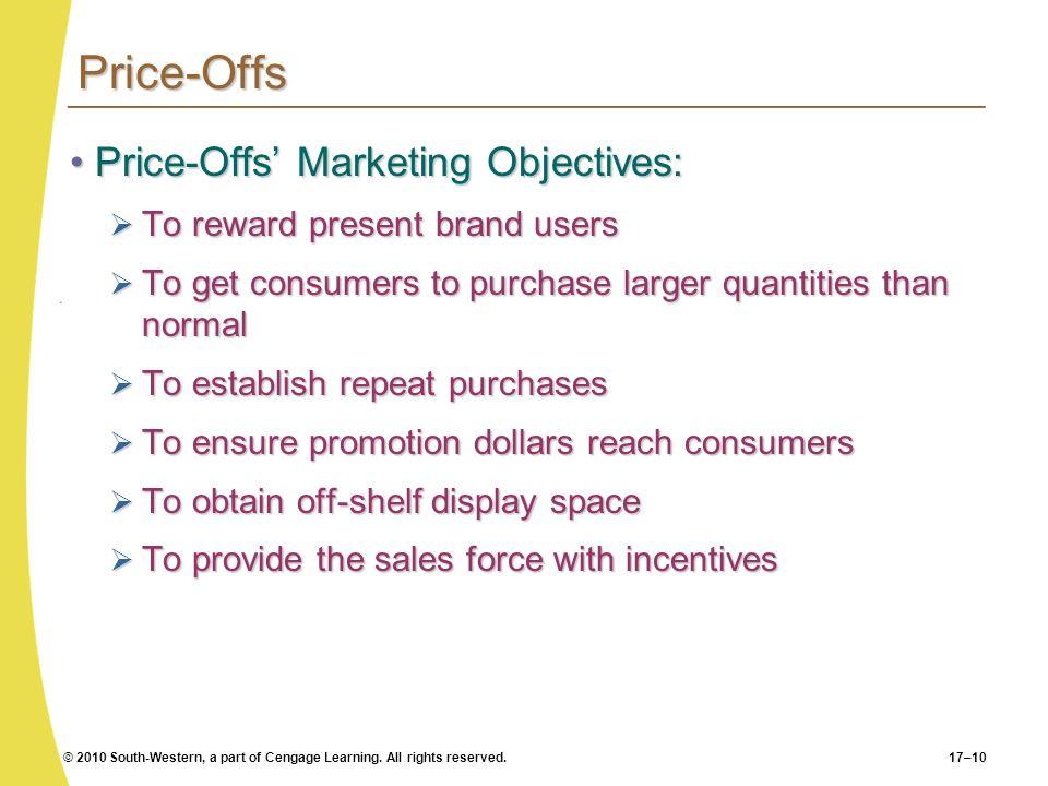 Price-Offs Price-Offs' Marketing Objectives: