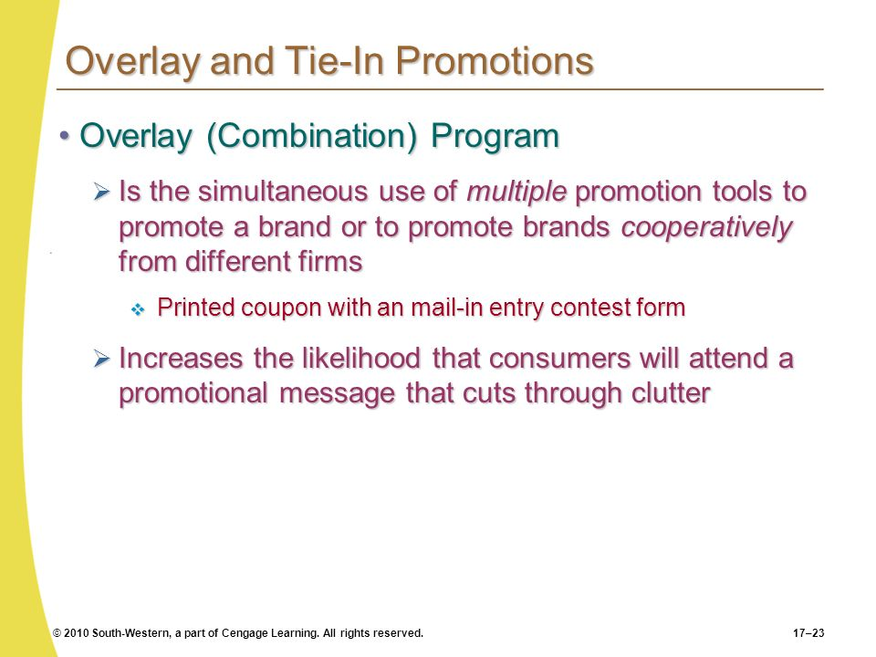 Overlay and Tie-In Promotions