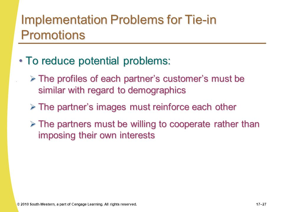 Implementation Problems for Tie-in Promotions
