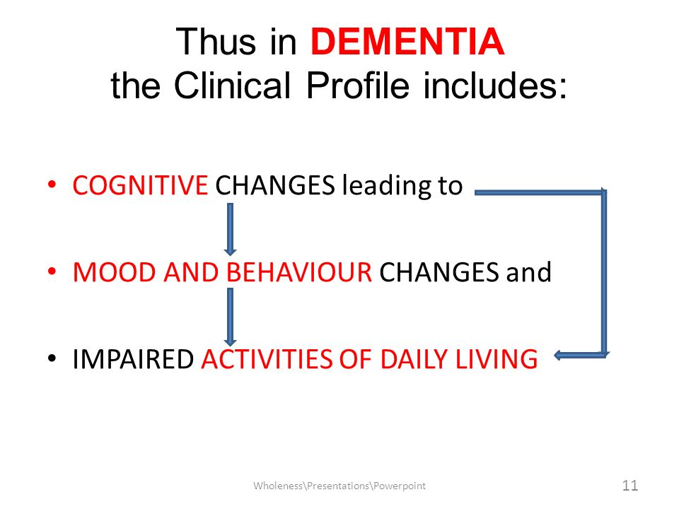 Thus in DEMENTIA the Clinical Profile includes:
