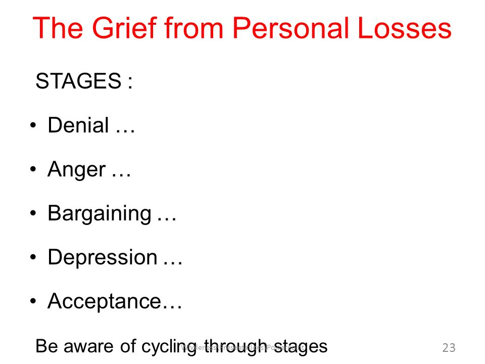 The Grief from Personal Losses