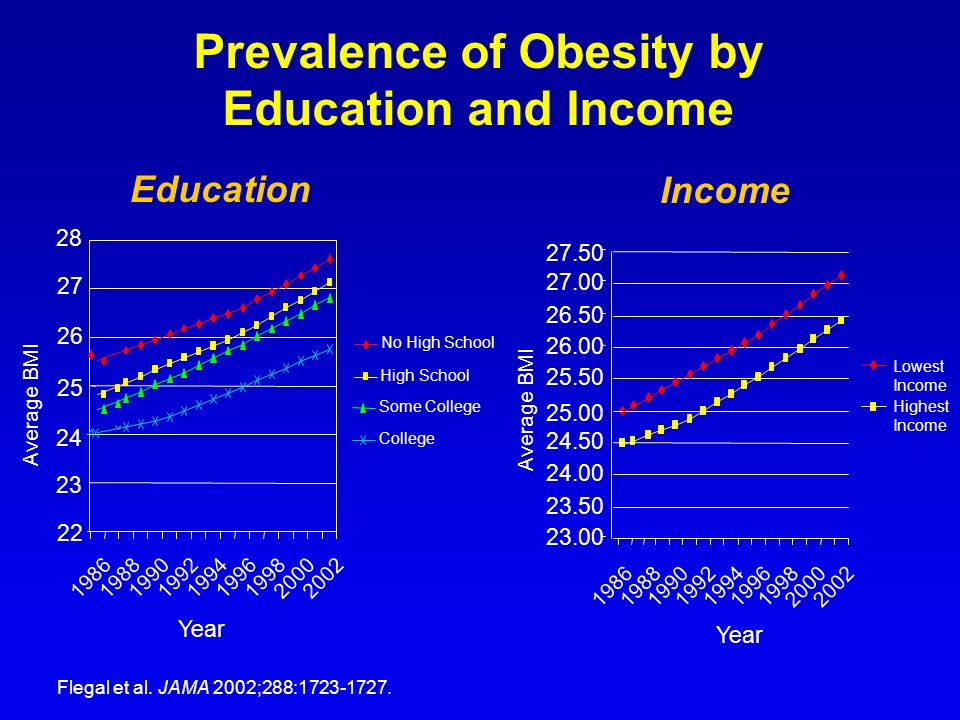 Prevalence of Obesity by Education and Income