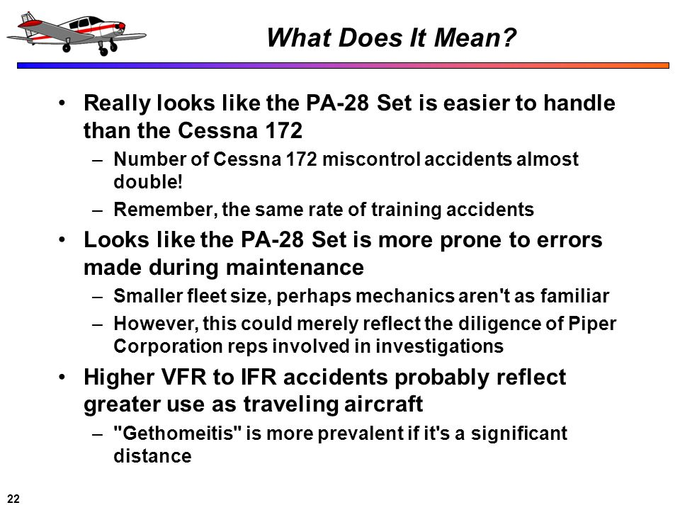 What Does It Mean Really looks like the PA-28 Set is easier to handle than the Cessna 172. Number of Cessna 172 miscontrol accidents almost double!