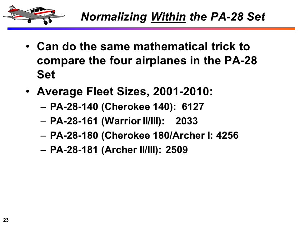Normalizing Within the PA-28 Set