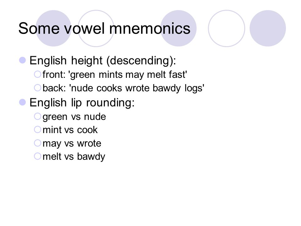 Some vowel mnemonics English height (descending):