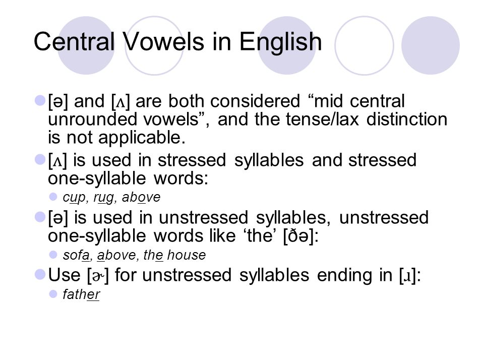 Central Vowels in English
