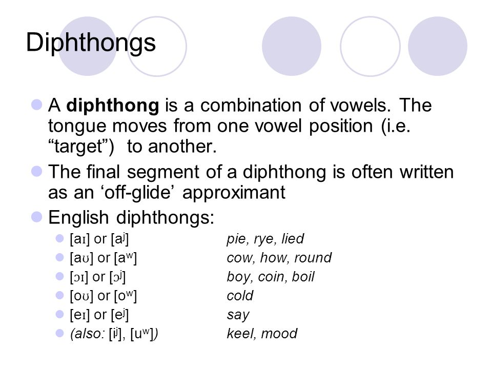 DiphthongsA diphthong is a combination of vowels. The tongue moves from one vowel position (i.e. target ) to another.