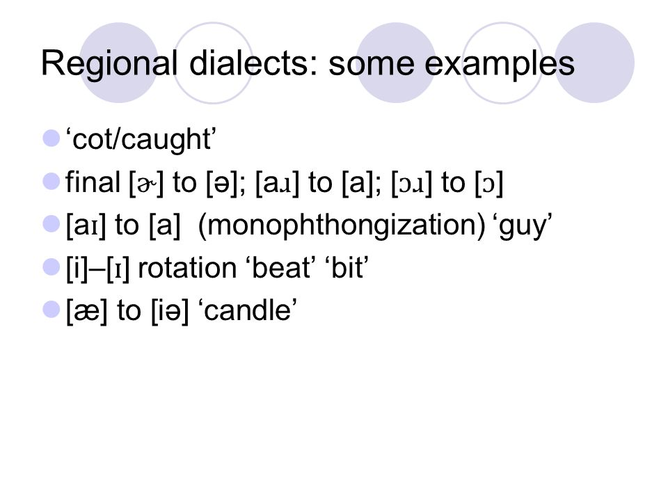Regional dialects: some examples